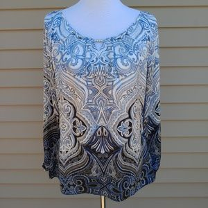WHBM| Blouse Print Blue White Long Sleeves Satin